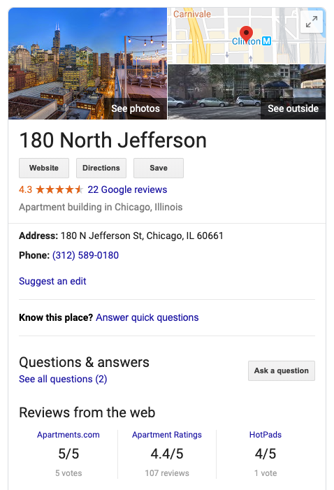 180 N Jefferson Google Listing