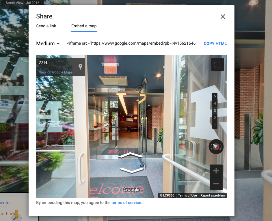 Embed Google Tour - Step 5