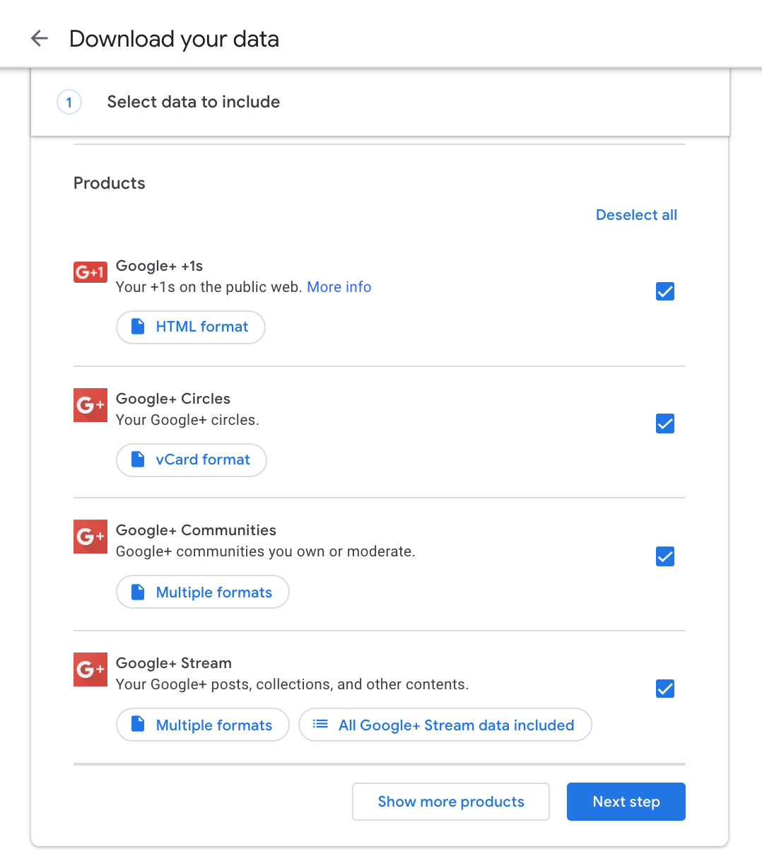 Google+ Download Data