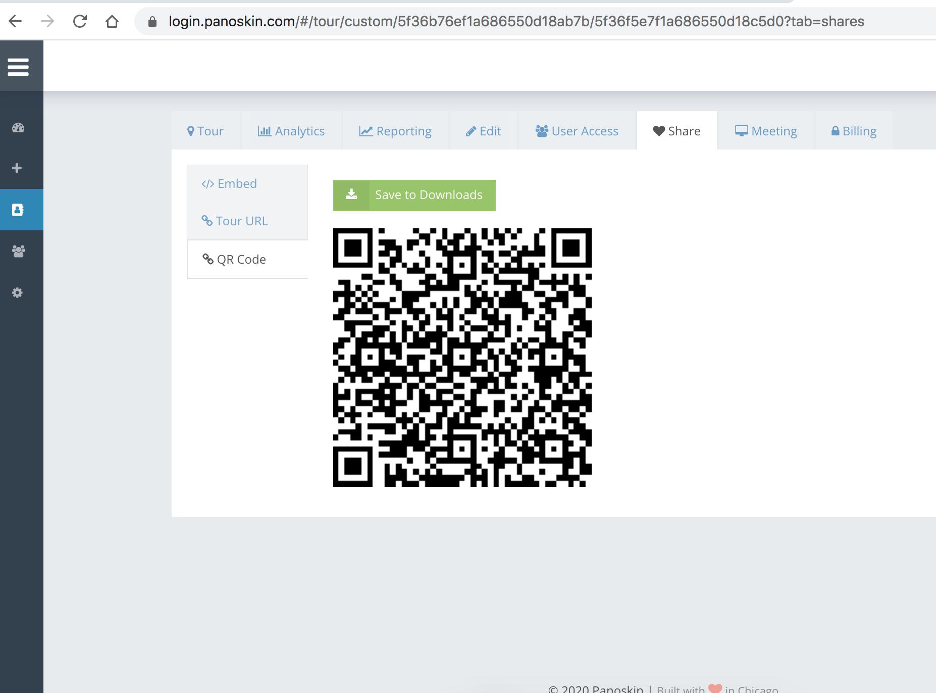 Panoskin Dashboard - QR Code Sharing 2