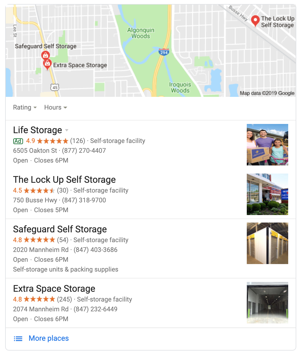 Self Storage Google Rankings