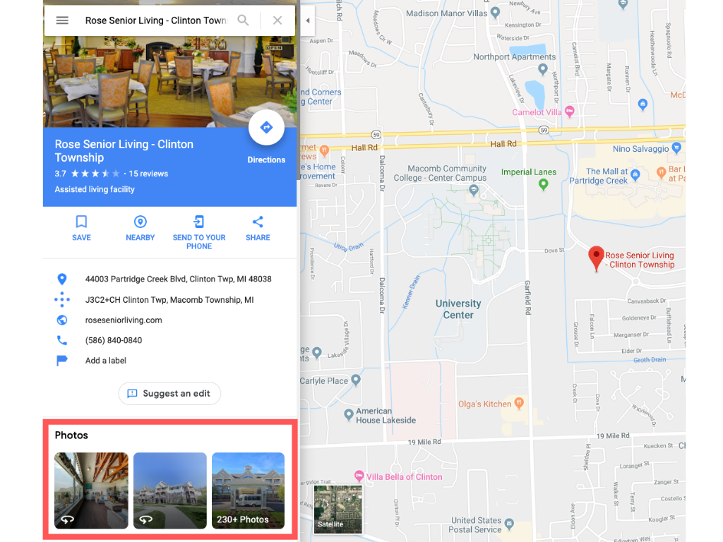 The Rose Senior Living Google My Business
