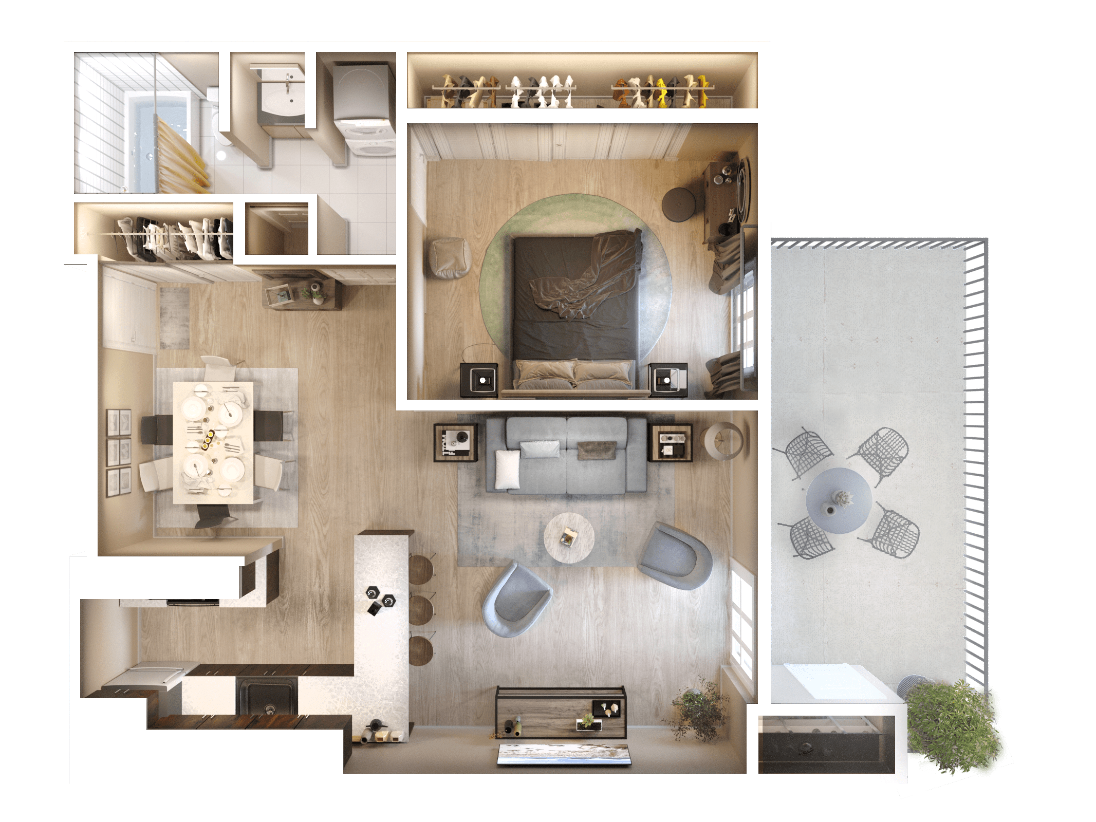 1 Bedroom 3D Floor Plan
