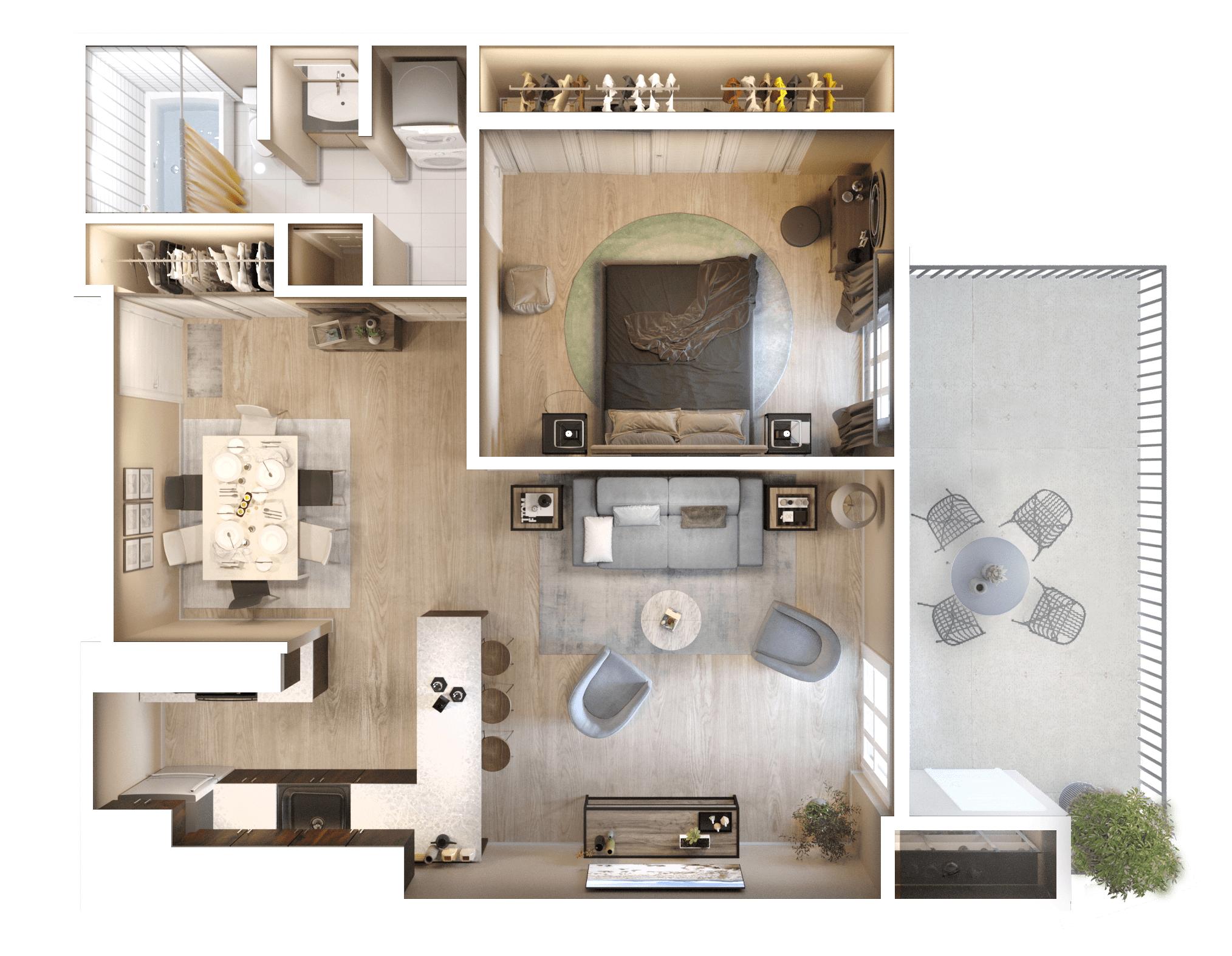 3D Floor Plan - 1 Bedroom
