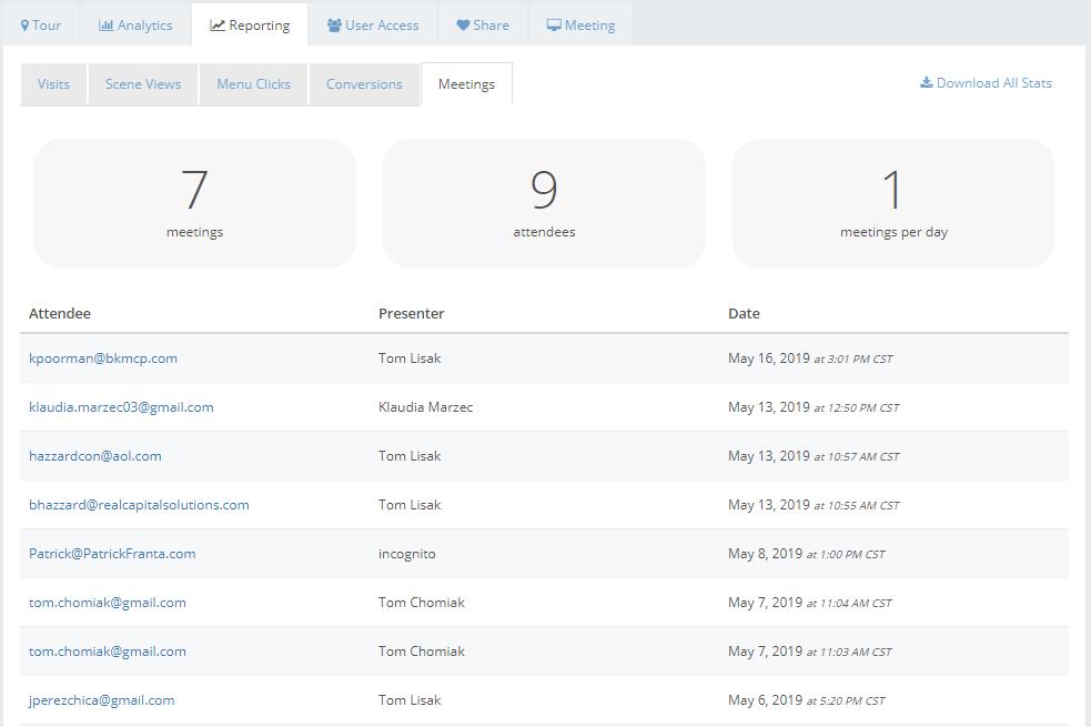 meeting tool reporting screenshoot