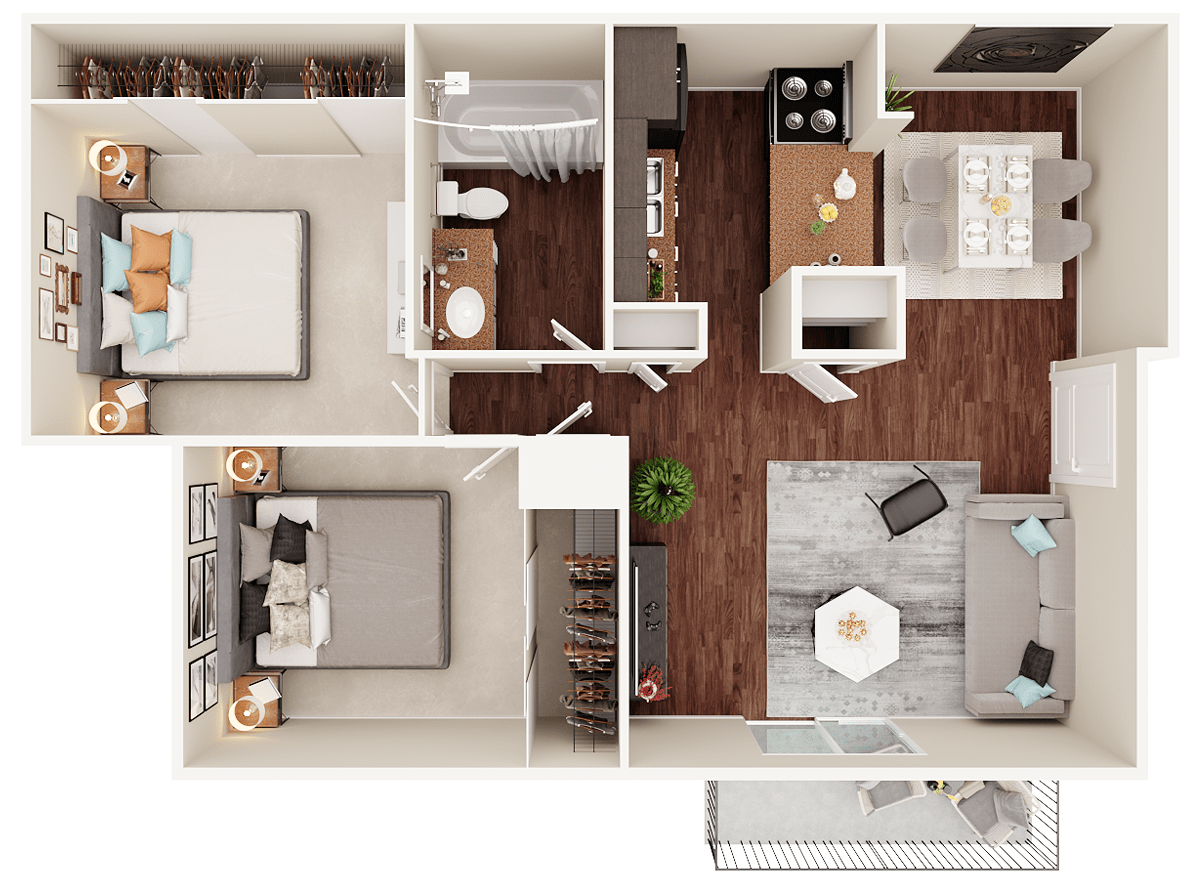 3D Floor Plan - 2 Bedroom