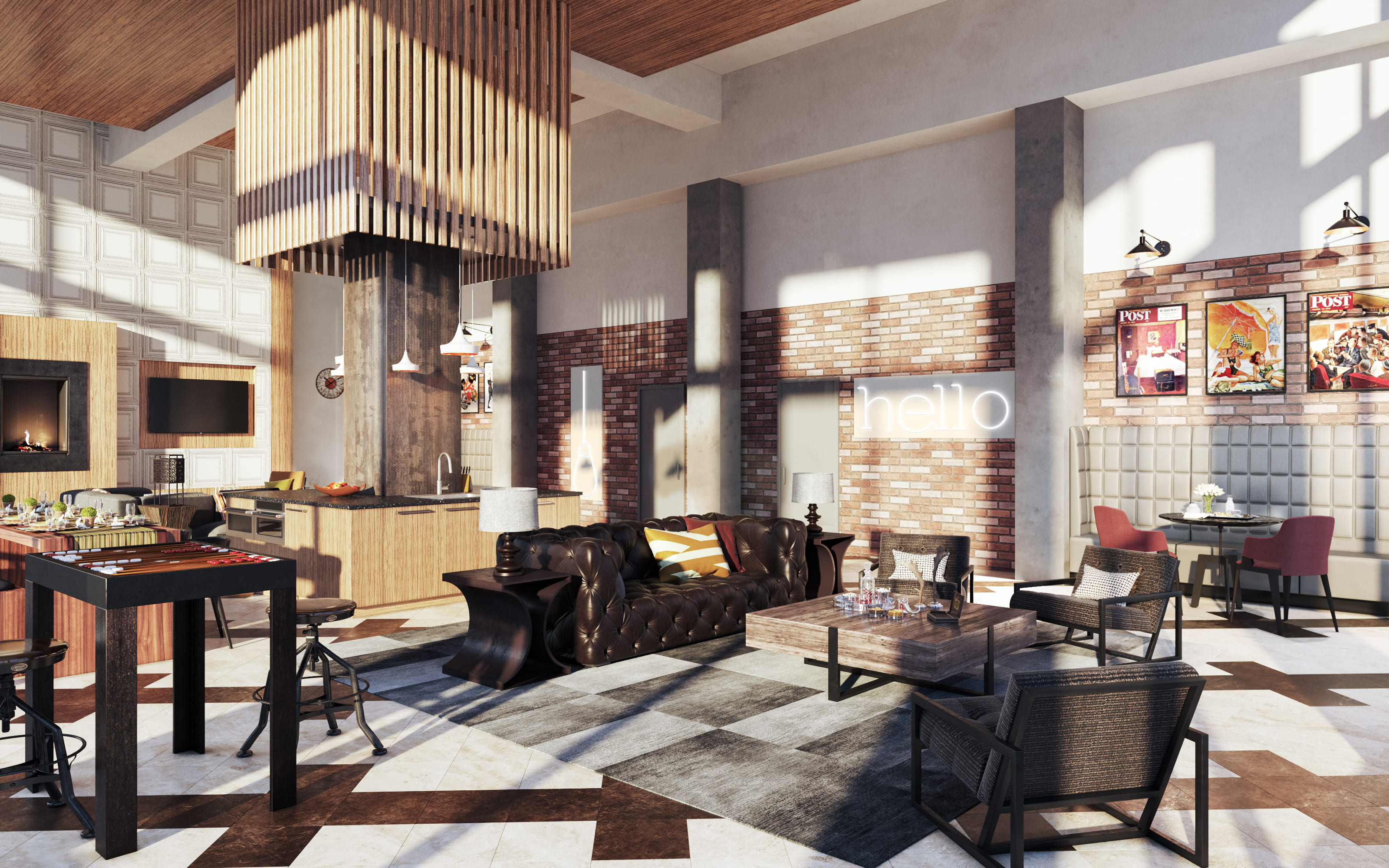Interior Clubhouse Rendering
