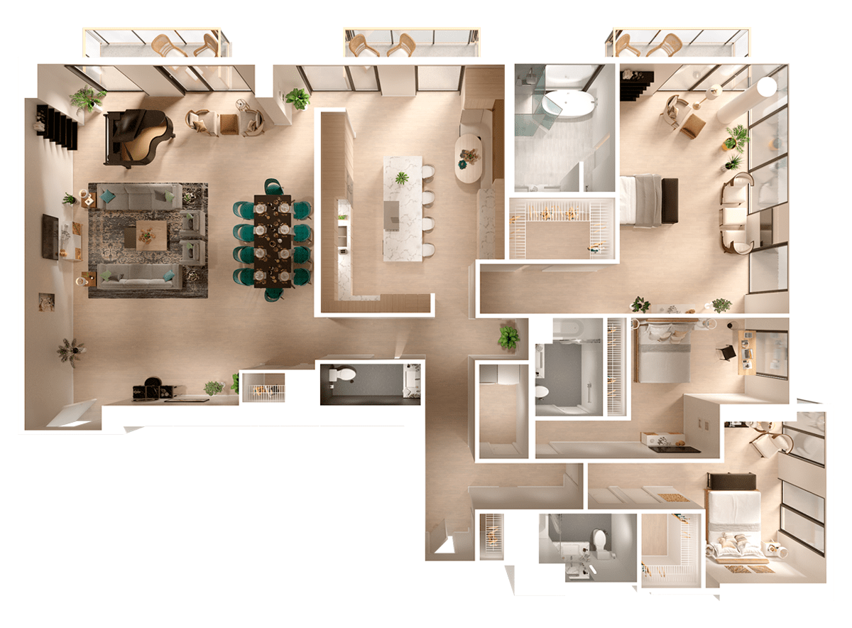 3D Floor Plan - Penthouse